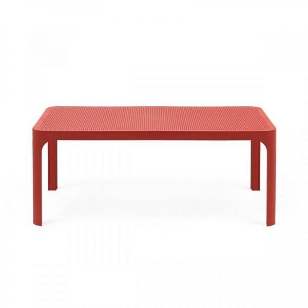 Table basse de jardin moderne avec plateau corail micro-perforé 100 x 60 cm - Net - 11