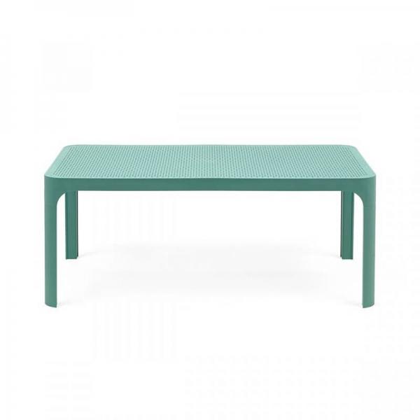 Table basse de jardin moderne avec plateau vert salice micro-perforé 100 x 60 cm - Net - 12