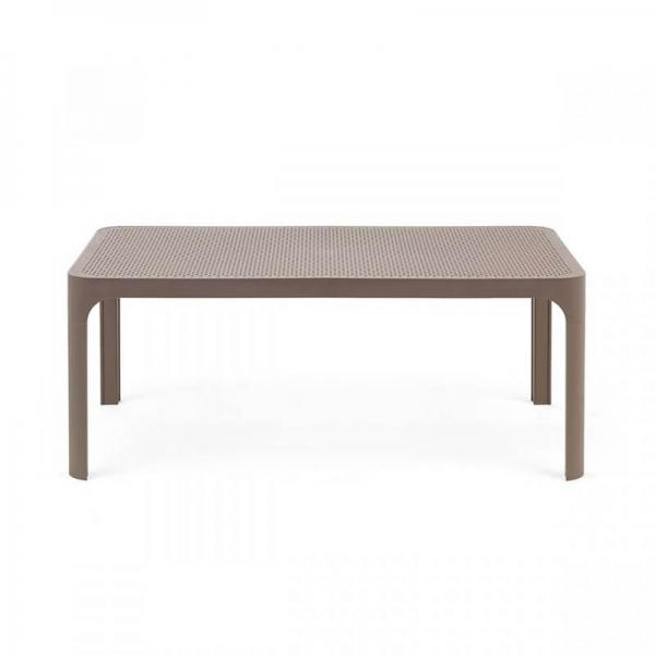 Table basse de jardin moderne avec plateau taupe micro-perforé 100 x 60 cm - Net - 13