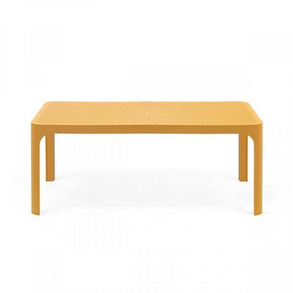 Table basse de jardin moderne avec plateau moutarde micro-perforé 100 x 60 cm - Net - 14