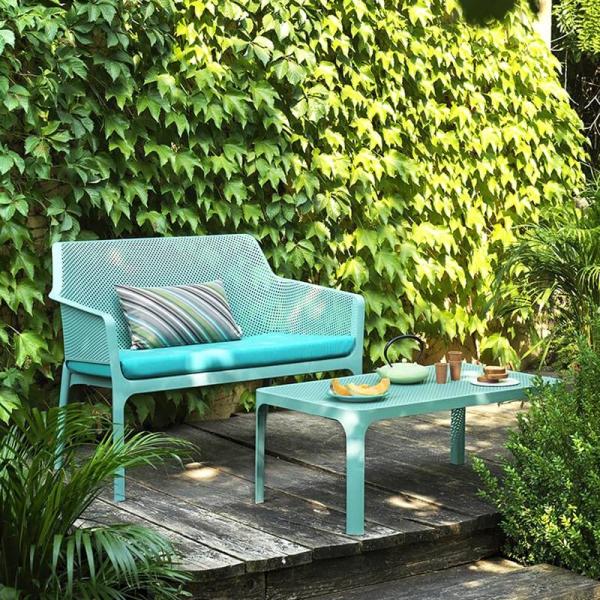 Table basse de jardin moderne avec plateau vert salice micro-perforé 100 x 60 cm - Net - 1