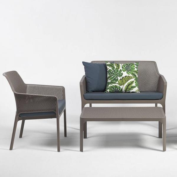 Table basse de jardin moderne avec plateau taupe micro-perforé 100 x 60 cm - Net - 15