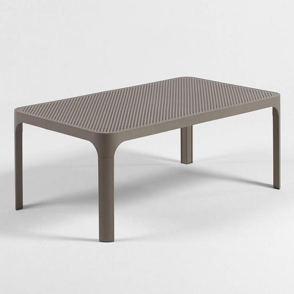 Table basse de jardin moderne avec plateau taupe micro-perforé 100 x 60 cm - Net - 18