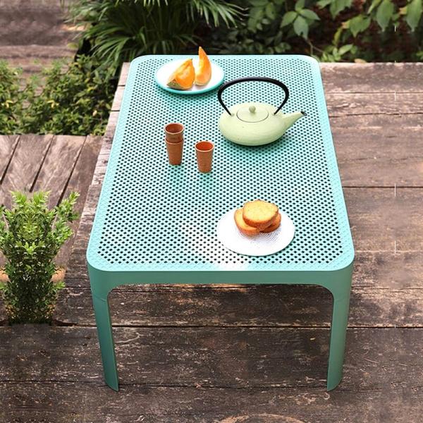 Table basse de jardin moderne avec plateau vert salice micro-perforé 100 x 60 cm - Net - 7