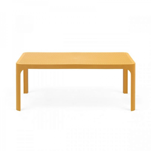 Table basse moderne avec plateau moutarde micro-perforé 100 x 60 cm - Net - 12