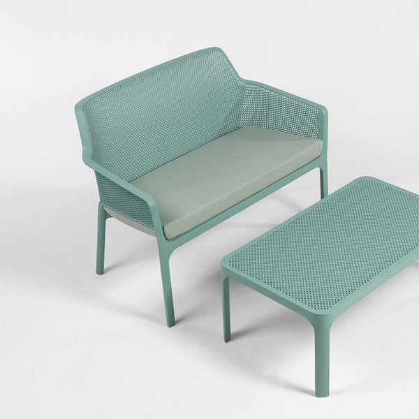 Table basse moderne avec plateau vert salice micro-perforé 100 x 60 cm - Net - 5