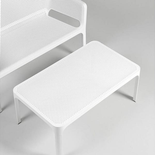 Table basse moderne avec plateau blanc micro-perforé 100 x 60 cm - Net - 17