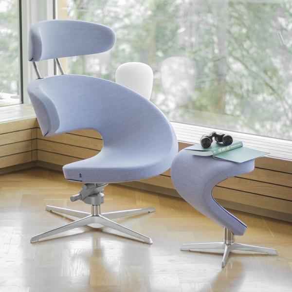 Fauteuil ergonomique avec repose pieds bleu ciel - Peel Varier® - 3