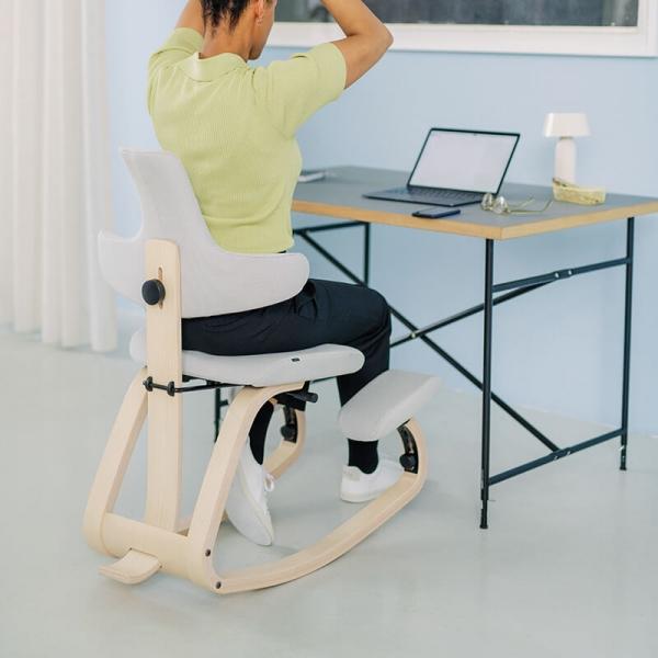 Siège de bureau ergonomique en tissu blanc - ThatSit Varier® - 4