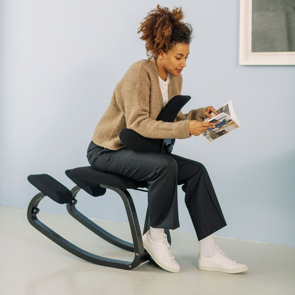 Chaise ergonomique assis genoux tissu noir - ThatSit Varier® - 5