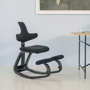 Chaise de bureau ergonomique à bascule en tissu et bois noire - ThatSit Varier®