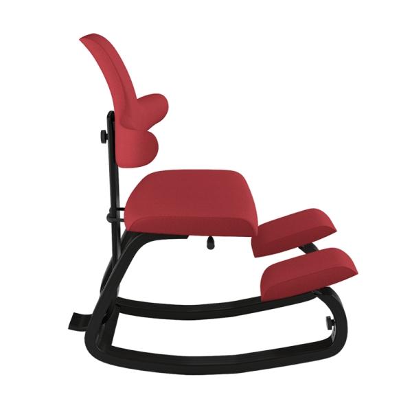 Chaise ergonomique en bois et tissu rouge - ThatSit Varier® - 18