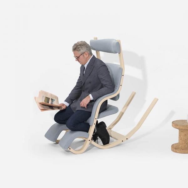 Fauteuil ergonomique genoux en tissu bleu ciel - Gravity Varier® - 10
