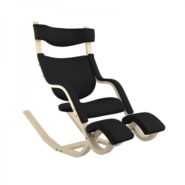 Fauteuil relax tissu noir et bois - Gravity Varier® - 23