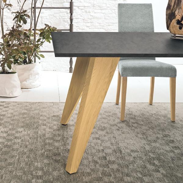 Table design rectangulaire en ecomalta et bois - Raw 6 - 6