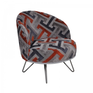 Fauteuil lounge design art déco orange et gris avec pieds épingle – Léa