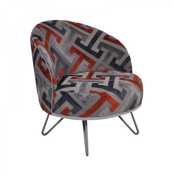 Fauteuil lounge design art déco orange et gris avec pieds épingle – Léa - 1