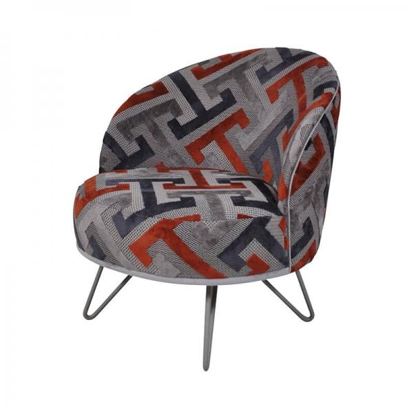 Fauteuil lounge style art déco orange et gris fabrication française - Léa - 2