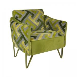 Fauteuil en tissu art déco vert avec pieds épingle en métal de fabrication française - Arnold
