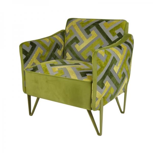 Chauffeuse de salon confortable à motifs verts fabrication française - Arnold - 3