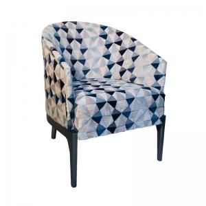 Fauteuil tonneau à motifs bleus structure en bois - Victor
