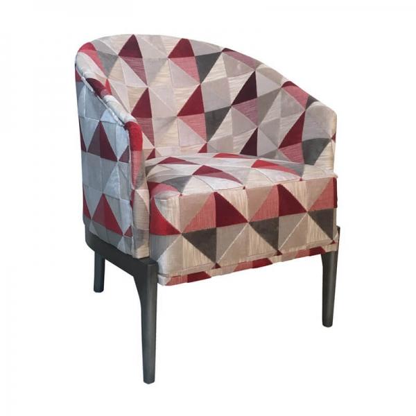 Fauteuil de salon art déco motifs triangles rouges - Victor - 4