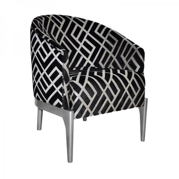 Fauteuil tonneau en tissu noir et blanc fabrication française - Victor - 5