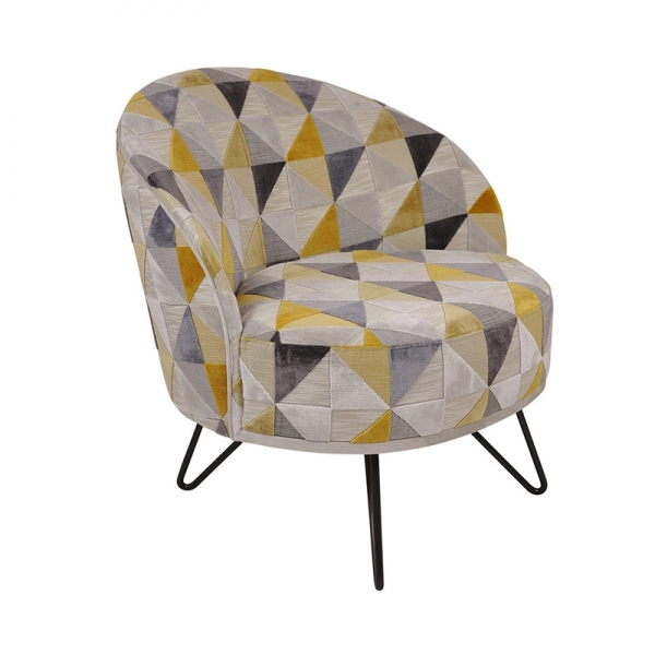 Fauteuil de salon à motifs jaunes made in France - Léa - 4