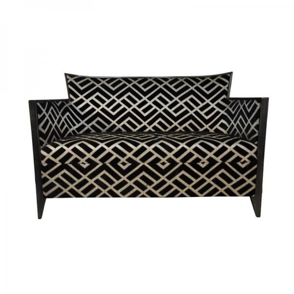 Canapé art déco 2 personnes en tissu noir et argent fabriqué en France – Nathan - 3