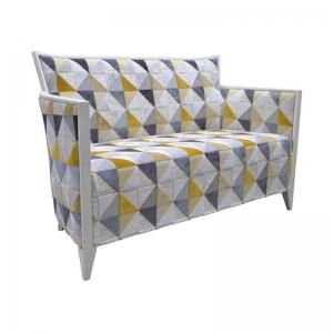 Petit canapé fabrication française en tissu à motifs jaune - Nathan