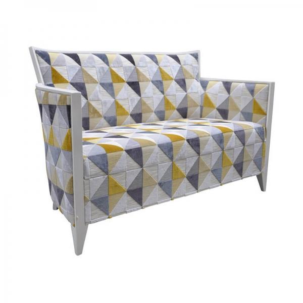 Petit canapé fabrication française en tissu à motifs jaune - Nathan - 1