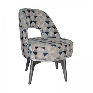 Fauteuil bas confortable et pivotant en tissu à motifs bleus - Hugo