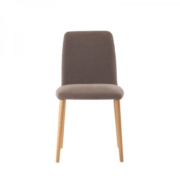 Chaise cocooning de salle à manger en tissu gris et bois - Rob Mobitec - 2