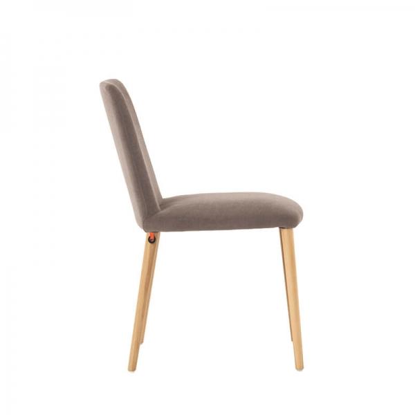 Chaise confortable de salle à manger en tissu gris et bois - Rob Mobitec - 4