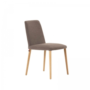 Chaise moderne en tissu gris rembourrée avec pieds en bois massif - Rob Mobitec