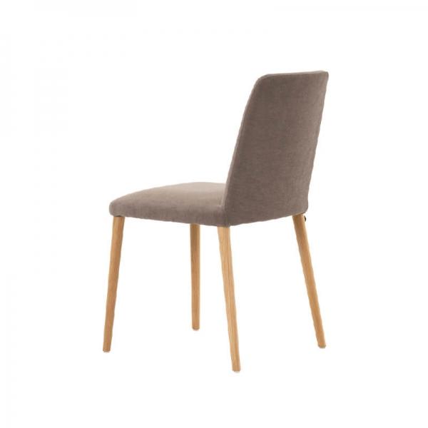 Chaise rembourrée de salle à manger en tissu gris et pieds en bois massif - Rob Mobitec - 3