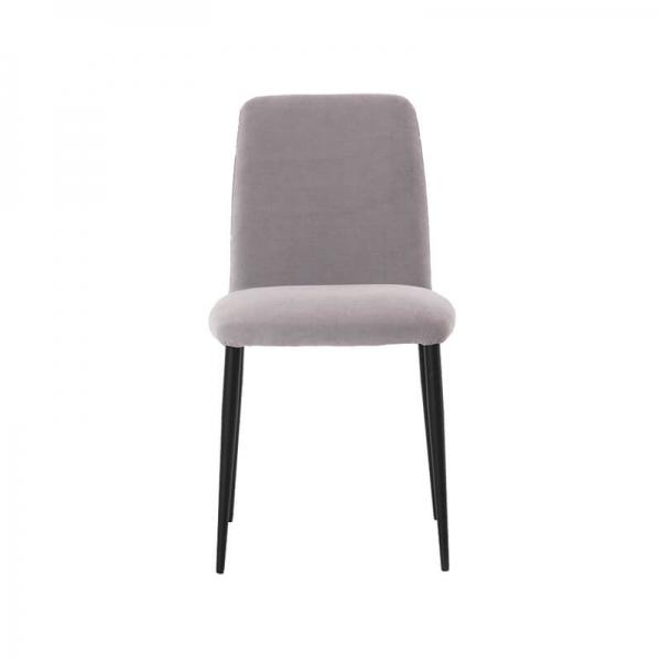 Chaise de séjour en tissu gris et pieds métal - Rob Mobitec - 2