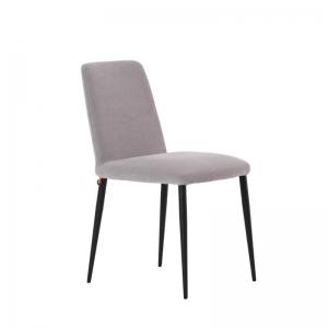 Chaise de salle à manger en tissu gris et pieds métal - Rob Mobitec