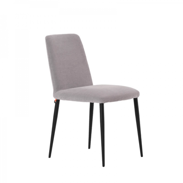 Chaise de salle à manger en tissu gris et pieds métal - Rob Mobitec - 1