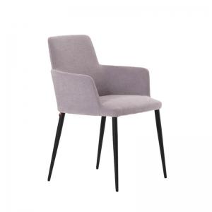 Fauteuil de salle à manger confortable en tissu gris et pieds métal - Rob Mobitec