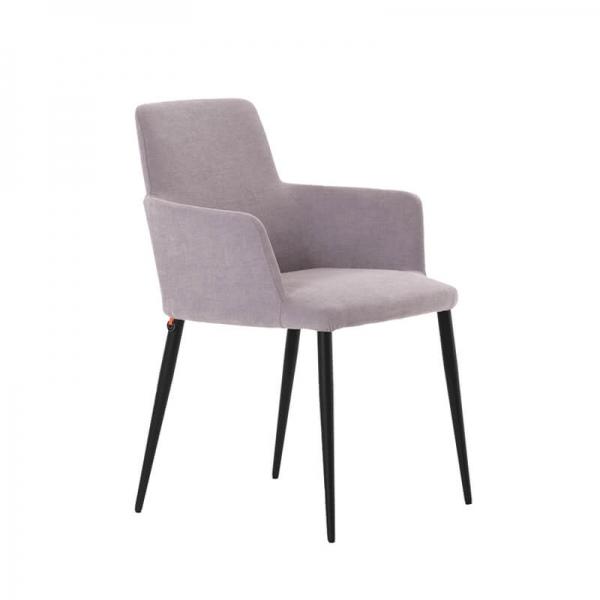 Fauteuil de salle à manger confortable en tissu gris et pieds métal - Rob Mobitec - 1