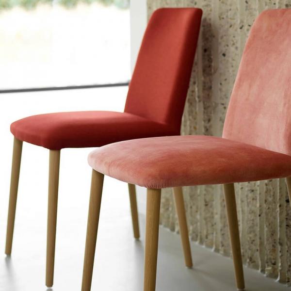 Chaise en tissu saumon pour la salle à manger - Rob Mobitec - 5