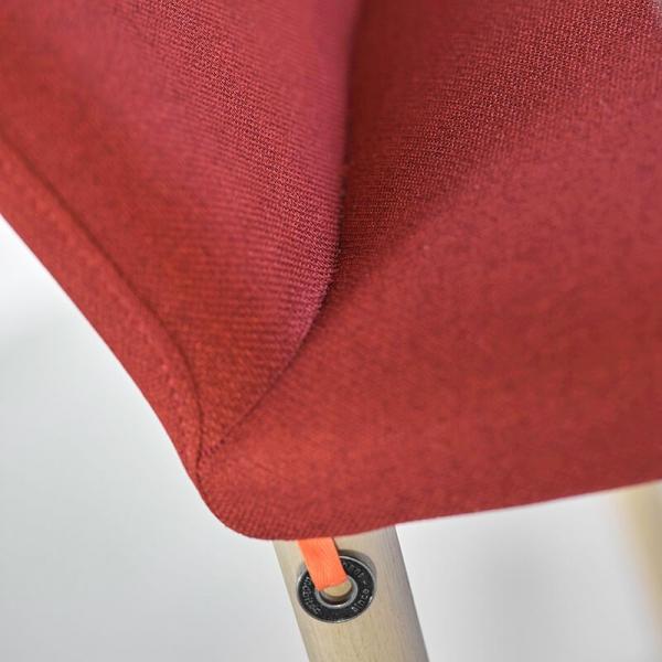 Chaise moderne en tissu rose rouge rembourrée pour le séjour - Rob Mobitec - 6