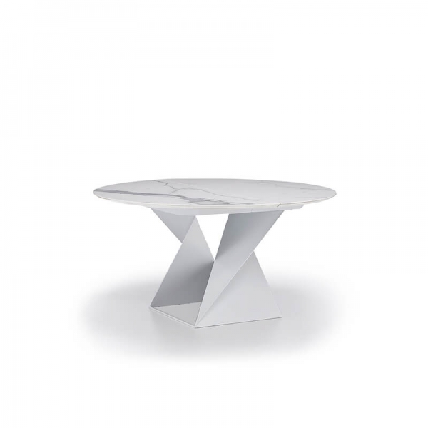 Table design ronde céramique et métal fabrication italienne - Cube - 2