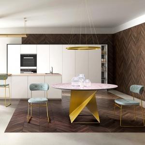 Table ronde design en céramique et pied central métallique - Cube
