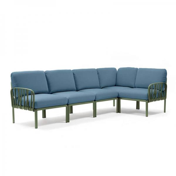 Canapé modulaire en tissu bleu d'extérieur 5 places - Komodo - 17