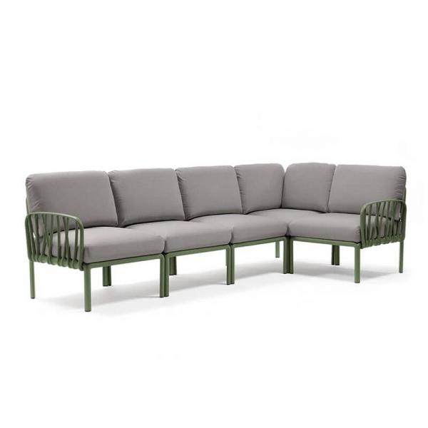 Canapé modulable en tissu gris d'extérieur 5 places - Komodo - 15