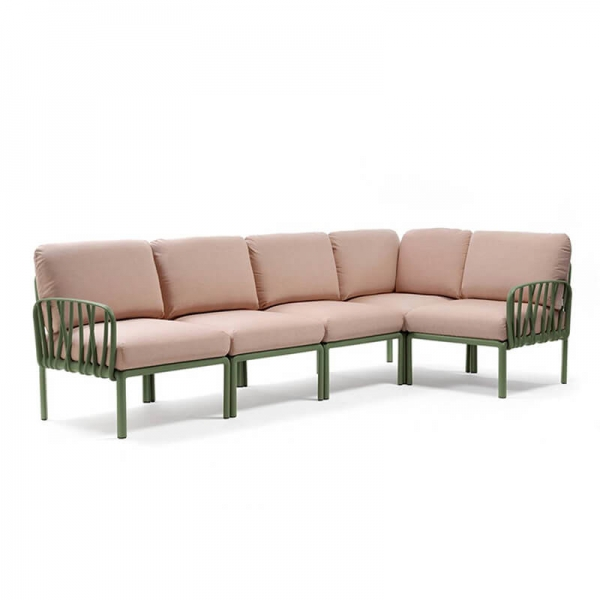 Canapé modulaire en tissu rose d'extérieur 5 places - Komodo - 16