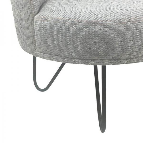 Chauffeuse pieds métal et tissu gris clair - Léa - 10