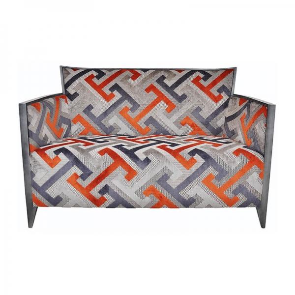 Canapé 2 places à motifs géométriques oranges made in France - Nathan - 6